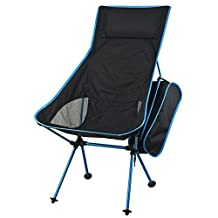 Camping Chairs Lightweight Portable Folding Chair Comfy Lounge Moon Beach Chair Aluminum Alloy Seat for Outdoor Fishing Hiking Garden by Dream's Story (sky blue with pillow)