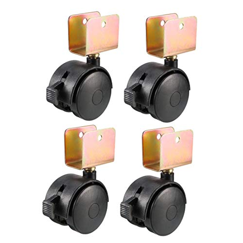 uxcell 1.85 Inch Swivel Caster Wheels 22mm U-Bracket Furniture Caster Twin Wheel Black with Brake, 4pcs