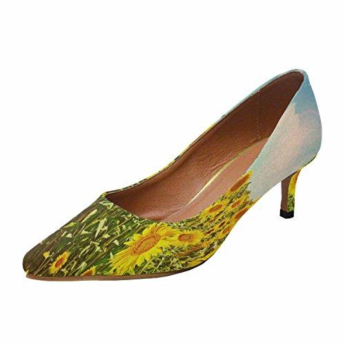 InterestPrint Womens Low Kitten Heel Pointed Toe Dress Pump Shoes Sunflower Field in Summer Multi 1 1UpSRxdmC6
