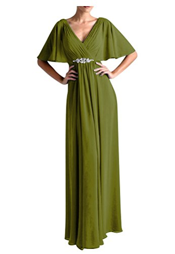 [WeiYin Women's Chiffon Flutter Sleeve Long Evening Dress Mother of the Bride Dresses Olive US 26W] (Plus Size Formal Dresses)