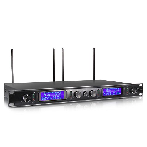 Xtuga EW240 UHF Rocket Audio 4 Channel Wireless Microphone System UHF Wireless Microphone System metal receiver with 4 bodapack for Stage Church Use for Family Party, Church, Small Karaoke Night
