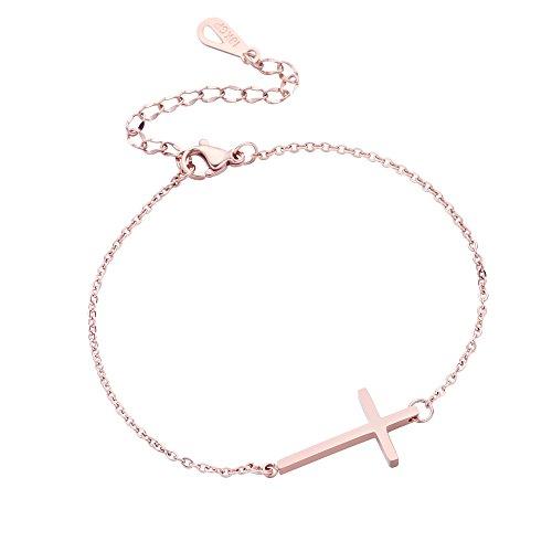 ZHEPIN Womens Fashion Chain Bracelet Sideways Cross Bracelets Rose Gold-Tone Silver-Tone