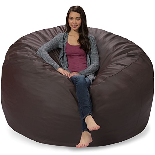 Comfy Sacks 6 ft Memory Foam Bean Bag Chair, Brown Faux Leather (Leather Bean Bag Brown)