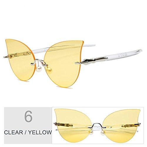 De Clear Ojo Gato De Sol Perla Gafas Mujeres Gafas Negro Reborde TIANLIANG04 De Yellow Gris Decoración Sin Itxwqn