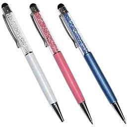 Premiertek Stp-3pk-2 3pk Crystal Touch - Screen Stylus Pen Blue White & Pink