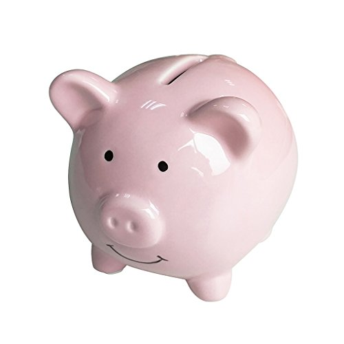 Lovollect Piggy Bank Pig, Ceramic Material, Cute Animal for Decoration, Baby Nursery Gift, Length 3.7 inches (Pink) (Pink Pig Bank)