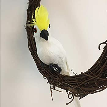 Biubutta Birds for Decoration 14'', Feather Parrot for Home Garden Party Prop Accessories(White/Attached Wires)