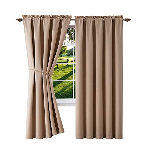 Warm Home Designs 1 Pair 2 Extra Long 54quot x 108quot Taupe Room Darkening Curtains 2 Free Matching TieBacks Total Width 108quot Save Buying Blackout Pairs Instead Single Panels E Taupe 108