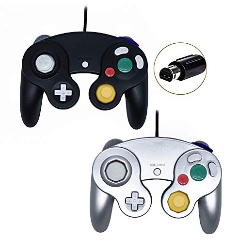 Poulep Wired Controller for Gamecube Game Cube, Classic Ngc Gamepad Joystick for Wii Nintendo Console (Black1 and Sliver1)