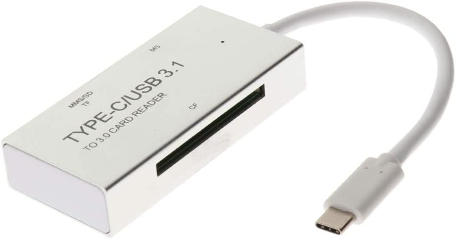 82x38x12mm Gazechimp Super USB 3.1 Type C to 3.0 Card Reader for Win7 Win8 Win10 and Mac OS Silver
