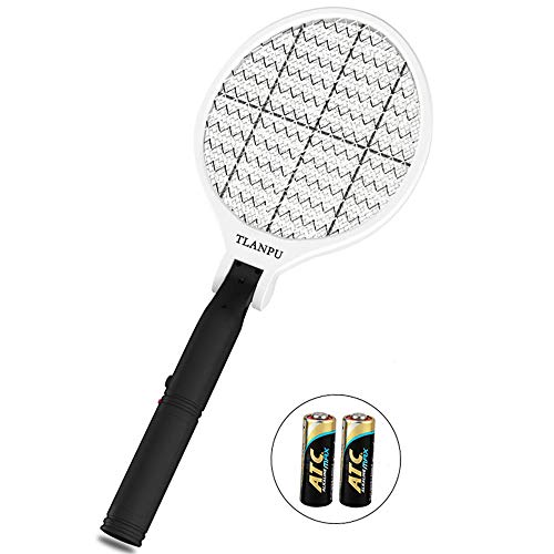 Foldable Electric Bug Zapper Racket, Professional Pest Fly Killer,Mosquito Repellent Electric Swatter,Effective Killing Indoor and Outdoor Most insects, LED Flashlight, Unique 3-Layer Safety Mesh.