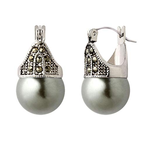 (Linda Schnoll Hematite and Ball Hinged Pierced Earrings - Tahitian Grey Faux Pearl)