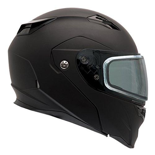 Snowmobile Helmet Shield - Bell Revolver Evo Rally Matte Black Modular Snowmobile Helmet with Dual Shield - X-Large