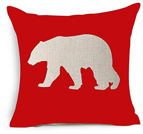 Designer Cushion Cover (Cotton Linen Square Decorative Throw Pillow Case Cushion Cover Bear Shadow Printing Red Holiday Gift 18