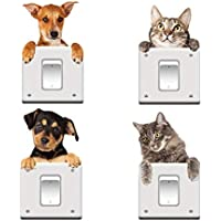 Removable Switch Sticker, 8 Cats and Dogs Lovely Wall Sticker, Light Switch Decor Decals, Family DIY Decor Art Stickers…