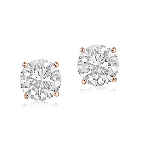 100% Pure Diamond Earrings 1/2 ct Made in USA Rose Gold Lab Created Diamond Earrings For Women Lab Grown Diamond Earrings 14K EH Color Gold Real Diamond Earrings for Women ()