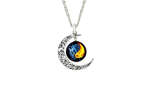 Gemingo Galaxy Choker Necklace Pendant Hand-Crafted Crescent Moon Chain Necklace Pendant
