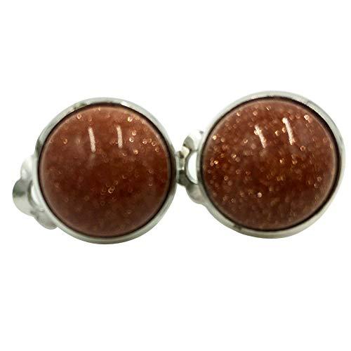 Goldstone Clip - Jewelry58718 Fashion 7mm Lapis Lazuli Round Clip Earrings (Goldstone C6993)
