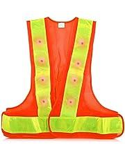 kwmobile LED veiligheidsvest reflector veiligheidsvest - veiligheidsvest met 16 rode LED-lampen - reflecterende strepen veiligheidsvest voor bijv. joggen rijden
