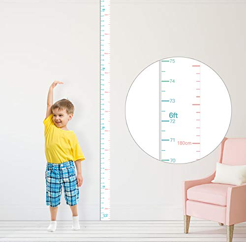 (Height Chart for Kids Growth Chart Wall Art Sticker Decor for Measuring Kids Boys Girls, White (Middle 83''1.37''))
