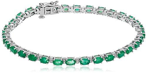 "10K White Gold Emerald Oval Fashion Bracelet, 7.5"""