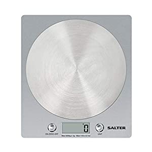 Salter Digital Kitchen Weighing Scales – Slim Design Electronic Cooking Appliance for Home / Kitchen, Weigh Food up to 5kg + Aquatronic for Liquids ml and fl. Oz. 15Yr Guarantee – Silver