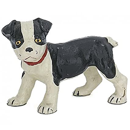 Home Collection Boston Terrier Pup Dog Sculpture Figure Door Stop Hand Painted Cast Iron 6-inch Paperweight