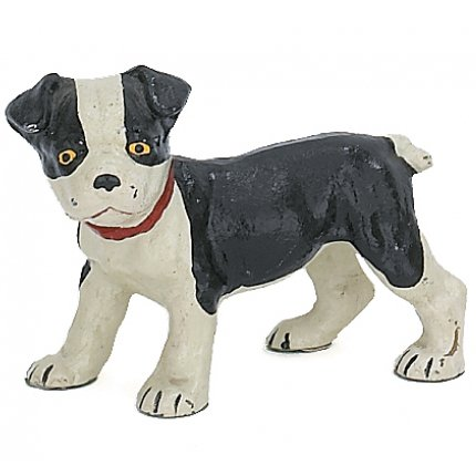 Boston Terrier Pup Dog Sculpture Figure, Hand Painted Cast Iron, 6-inch, Paperweight, Door Stop