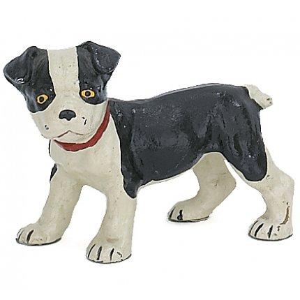 Boston Terrier Pup Dog Sculpture Figure, Hand Painted Cast Iron, 6-inch, Paperweight, Door Stop (Sculpture Terrier Metal)