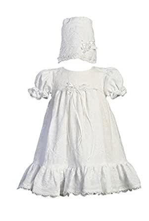 Embroidered Cotton Christening Baptism Dress with Ruffle - Size M (6-12 month)