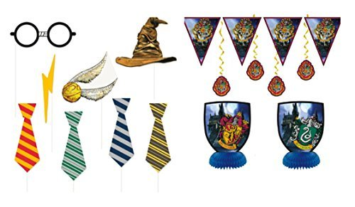 Harry Potter Children's Birthday Party Supply Set Includes 7 pc Decoration Kit and 8 pc Photo - House Hogwarts Sorting Hat