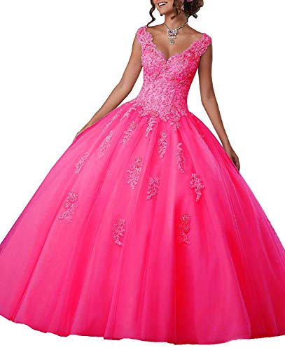 Gemila Women's Lace Applique Beaded Sweet Sixteen Floor Length Party Ball Gown Quinceanera Dress Hot Pink US16