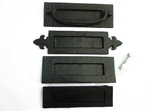 conjunto de tiradores para Fleur-de-Lys Doorfittings4u negro hierro fundido de dise/ño r/ústico buz/ón plato