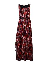Calvin Klein Women's Chiffon Dress with Belt, Tango/Black/Multi, 8