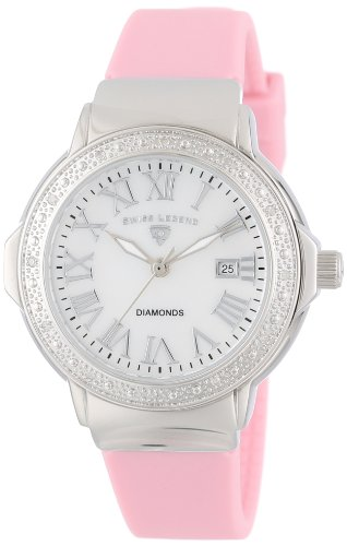 Swiss Legend Women's 20032D-02-LPK South Beach Mother-Of-Pearl Dial Diamond Accented Light Pink Silicone Watch