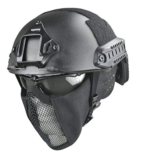 JFFCESTORE MH Updated Version Fast Tactical Helmet Combined with Foldable Half Face Mesh Mask and Goggles for Paintball CS Game Set
