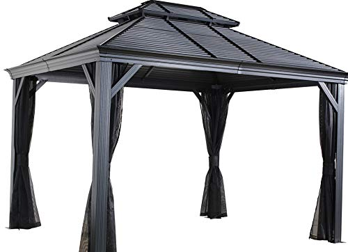 - Sojag 12' x 14' Mykonos Double Roof Hardtop Outdoor Sun Shelter Gazebo, Black