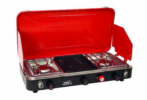 Texsport Carlisle High Output Dual Burner Insta-Light Propane Stove/Grill (Red), Outdoor Stuffs