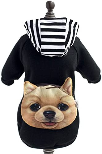 SMALLLEE_Lucky_Store Pet Small Dog Cat Clothes Coat Costume Cotton Sweater Hoodies ShirtBackpack Black M