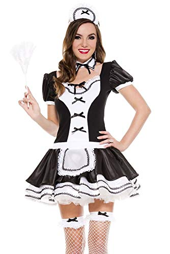 MUSIC LEGS Women's Sweet and Majestic French Maid, Black, Small/Medium