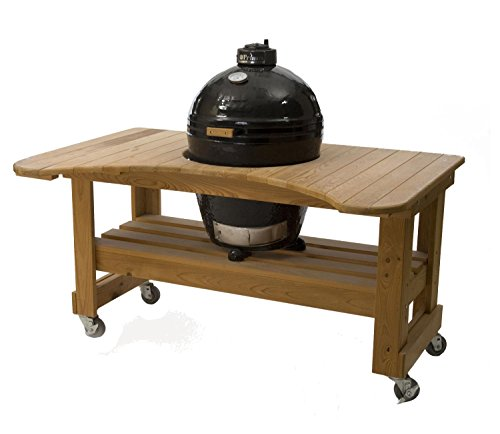 Primo Round LG 280 Ceramic Smoker Grill On Cypress Table ()