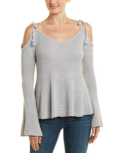 cupcakes and cashmere Women's Keryn Cold Sweater w/Shoulder Ties, Fog, Small
