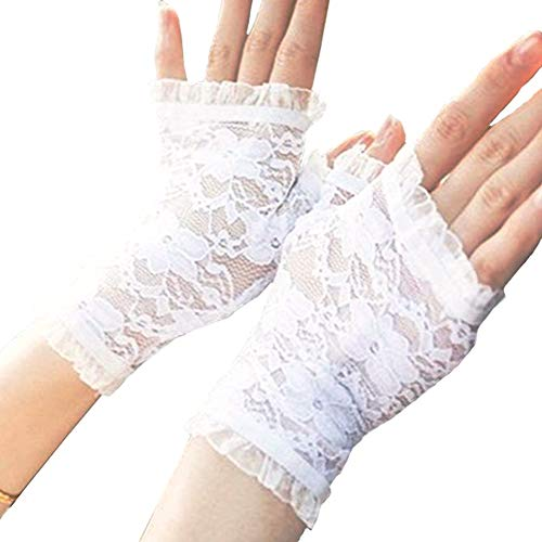 Gauss Kevin Sexy Summer Short Lace Gloves UV Protection Fingerless Gloves Wrist Length Prom Party Driving Wedding Gloves White