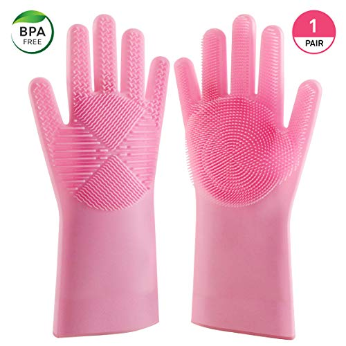 New Design Silicone (Blitzby Magic Wash, New Design Reusable Silicone Dishwashing Scrubber, Cleaning Brush Gloves for Kitchen, Household, Dish Washing, Washing The Car, Pink)
