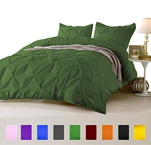 FINE LECHO Soft Luxurious 3-Piece Pinch Pleated Pintuck Decorative Quilt Duvet Cover Set Highest Quality Egyptian Cotton 800 Thread Count Comforter Cover (King/Cal-King, Olive
