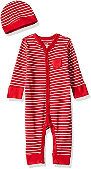 Moon and Back Baby Organic Snap-Front One-Piece Coverall with Cap Set, Red Cranberry, 6-9 Months