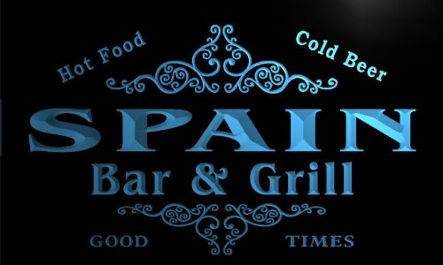 u42389-b SPAIN Family Name Bar & Grill Home Decor Neon Light Sign by AdvPro Name