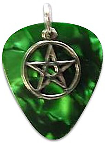 "Unique and Custom (.76 MM Thick) Medium Gauge Hard Plastic, Traditional Style ""Round Tip"" Guitar Pick Pendant W/Pentacle Star {Green & Silver - One Single Pick} w/Hole for Necklace (Over Pendants Pewter)"
