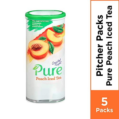 - Crystal Light Pure Peach Iced Tea Powdered Drink Mix, Caffeine Free, 2.28 oz Can