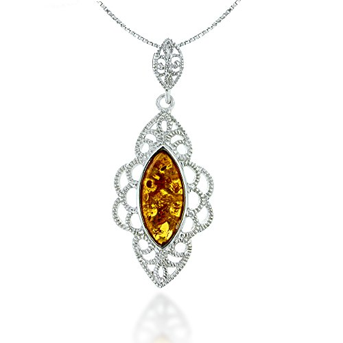 Chuvora Rhodium Plated 925 Sterling Silver Marquise Amber Gemstone Flower Pendant Necklace, 18 inches